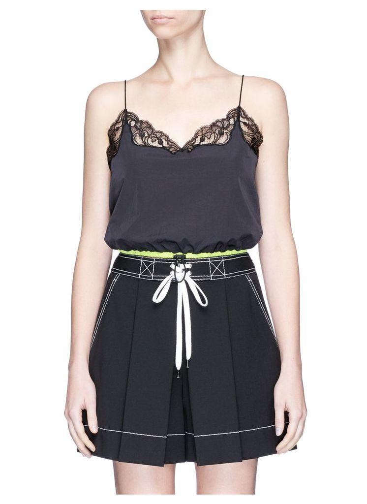 Drawcord hem lace trim cropped windbreaker camisole
