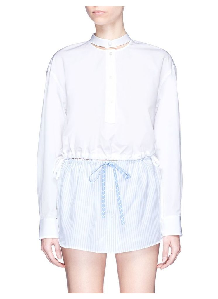 Deconstructed collar cropped shirt