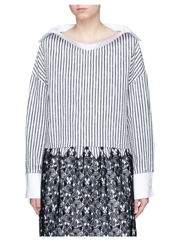 Sailor collar stripe cotton top