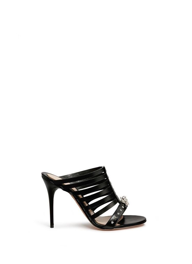 King skull caged leather sandals