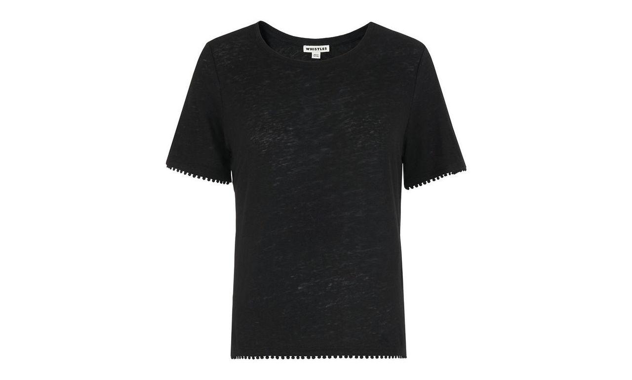 Pom Pom Trim Linen T-shirt