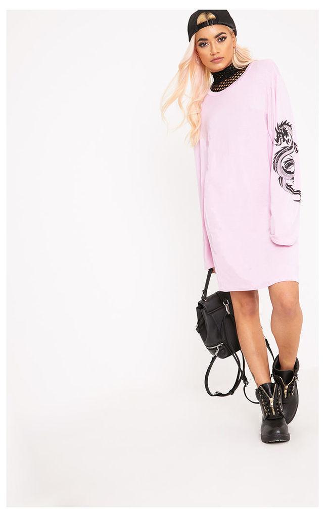 Dragon Pink Print T Shirt Dress