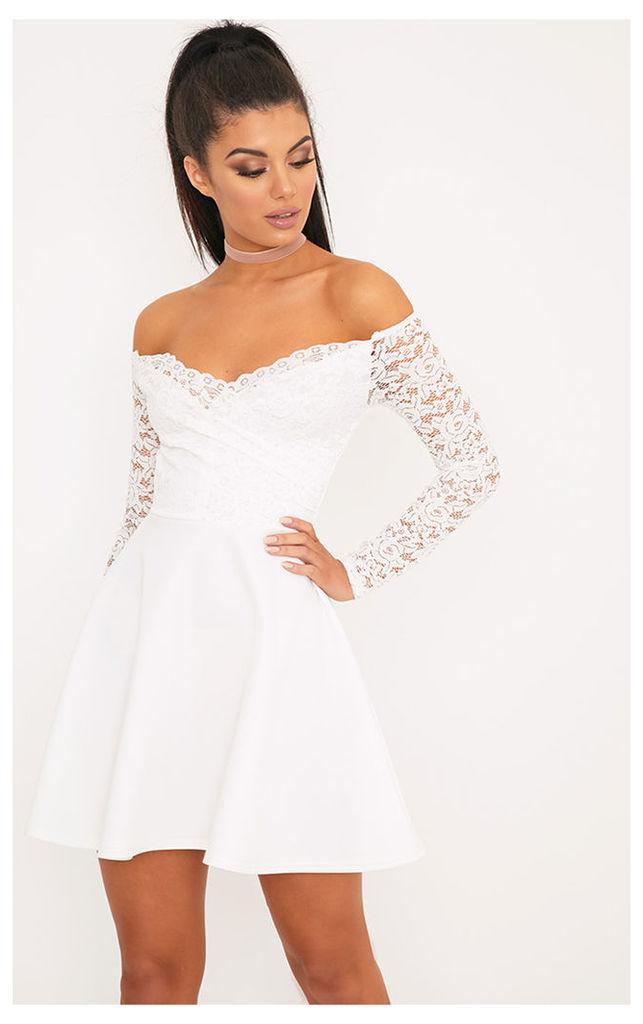 Luciel White Lace Sleeve Bardot Skater Dress