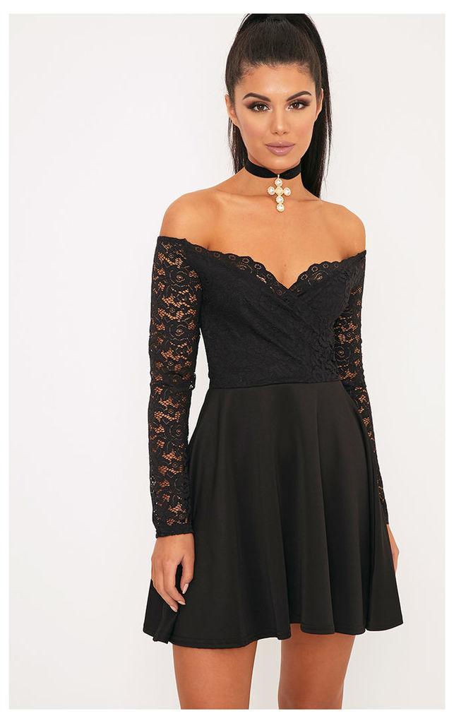 Luciel Black Lace Sleeve Bardot Skater Dress