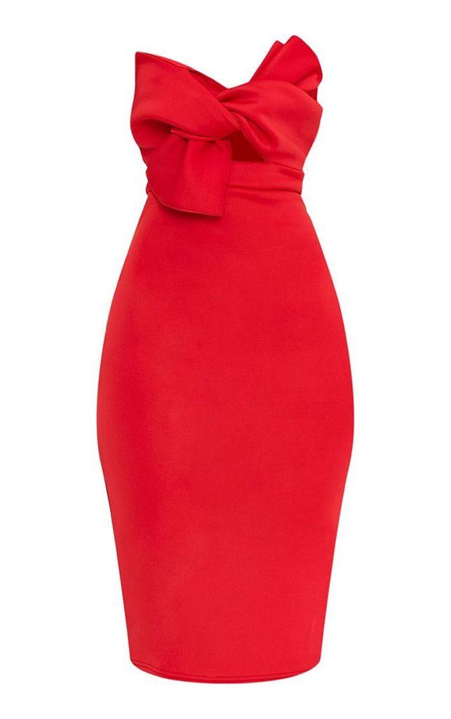 Elisse Red Bow Detail Scuba Midi Dress