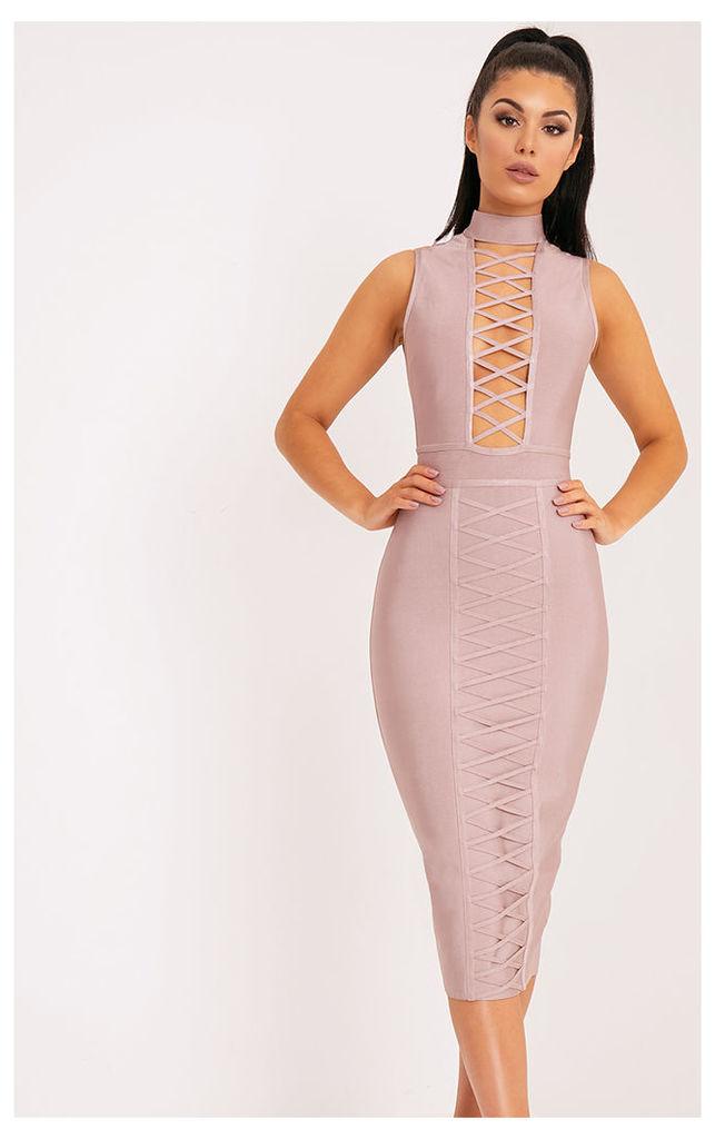 Dominique Mink Criss Cross Bandage Midi Dress
