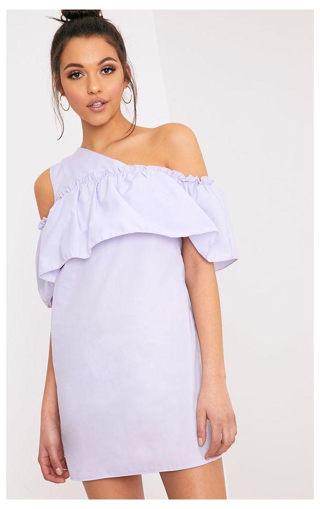 Katarinnah Lilac One Shoulder Frill Shift Dress
