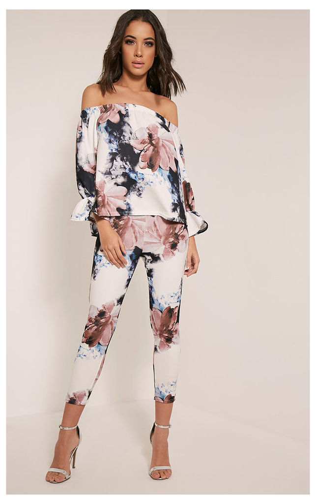 Natillia Navy Floral Cropped Trousers