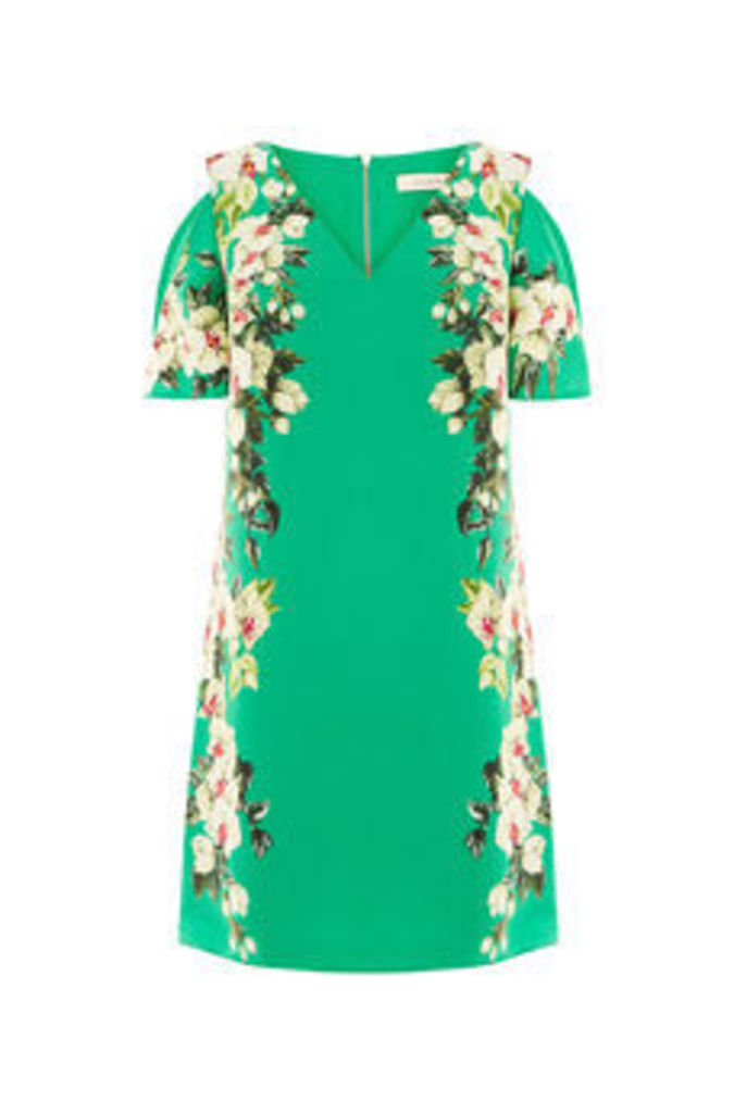 TROPICAL COLD SHOULDER DRESS