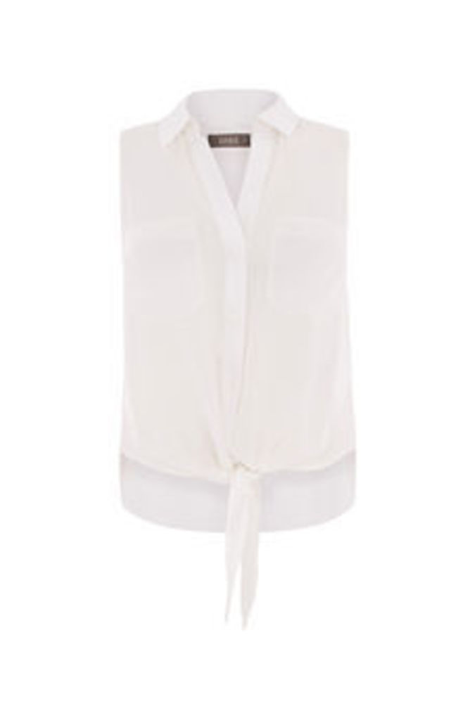 TIE FRONT SLEEVELESS SHIRT