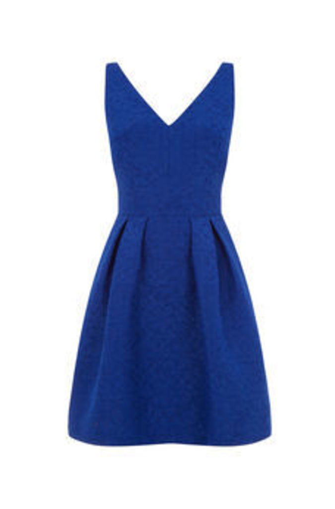 JACQUARD V NECK SKATER DRESS