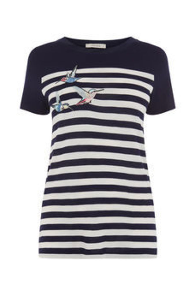 EMBROIDERED BIRD STRIPE TEE