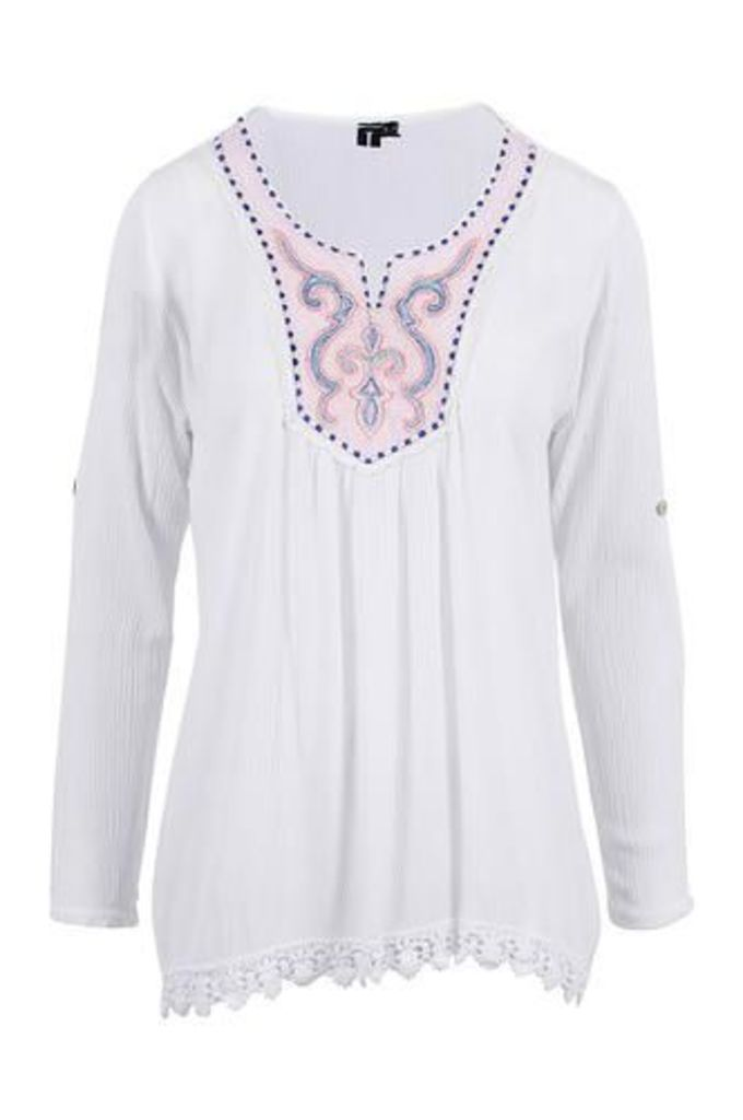 Embroidered Kaftan Top With Crochet Hem