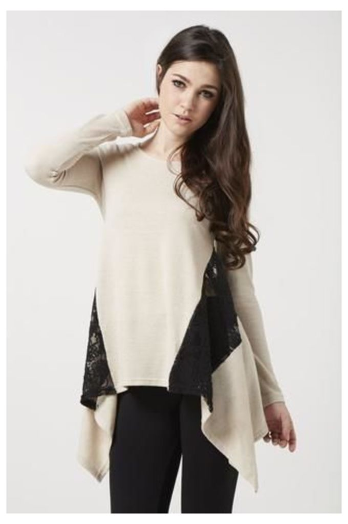 Lace Panel Draped Top,