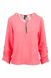 Zip Up Tunic Top With Lace Panel