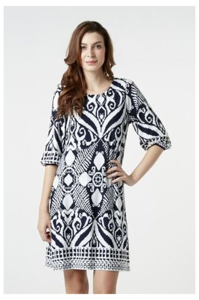 Oversized Tunic Dress with Pixelated Paisley Print