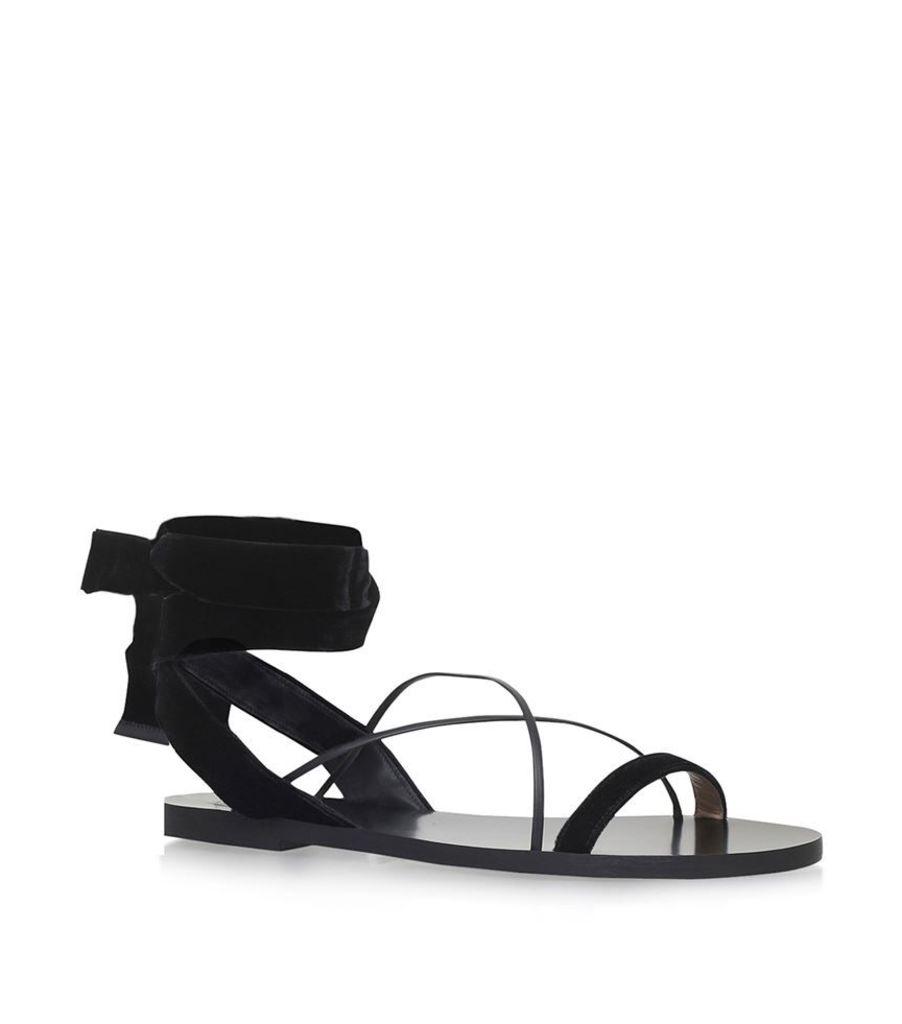 Valentino, Flat Velour Sandals, Female