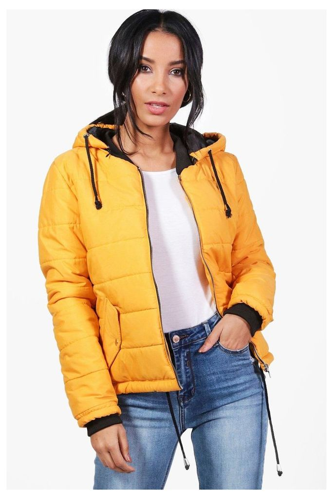 Hooded Padded Jacket - mustard