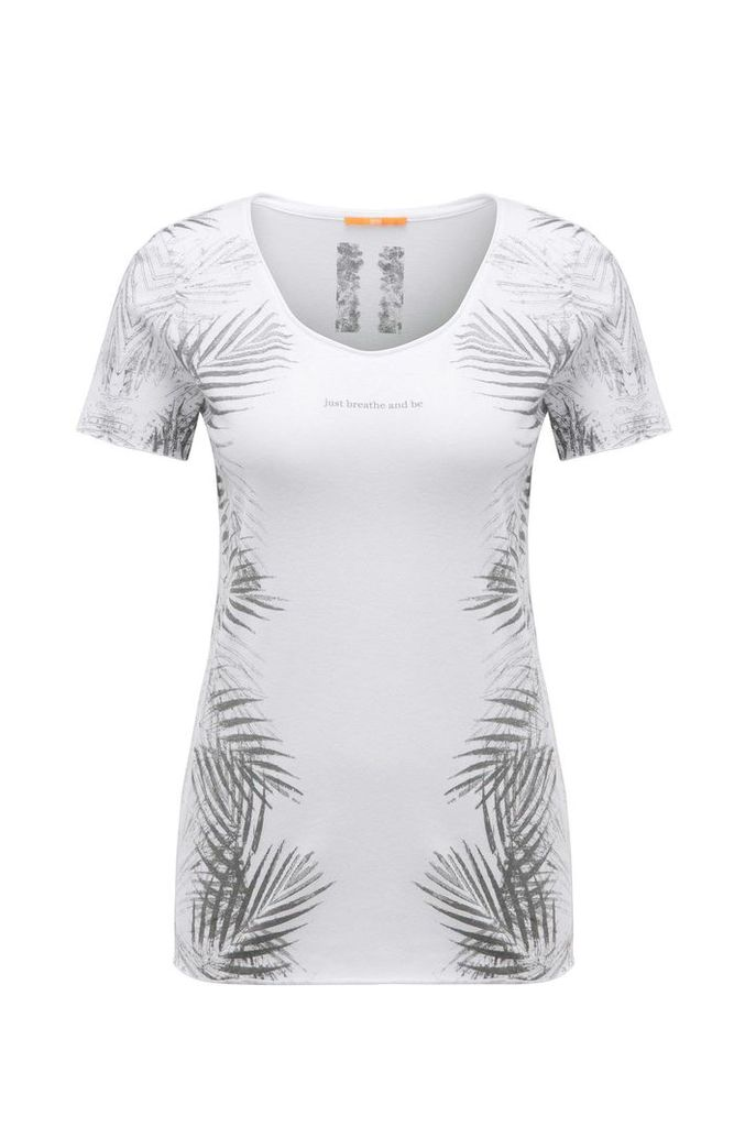 Printed slim-fit t-shirt in cotton blend with modal: `Tasensation`