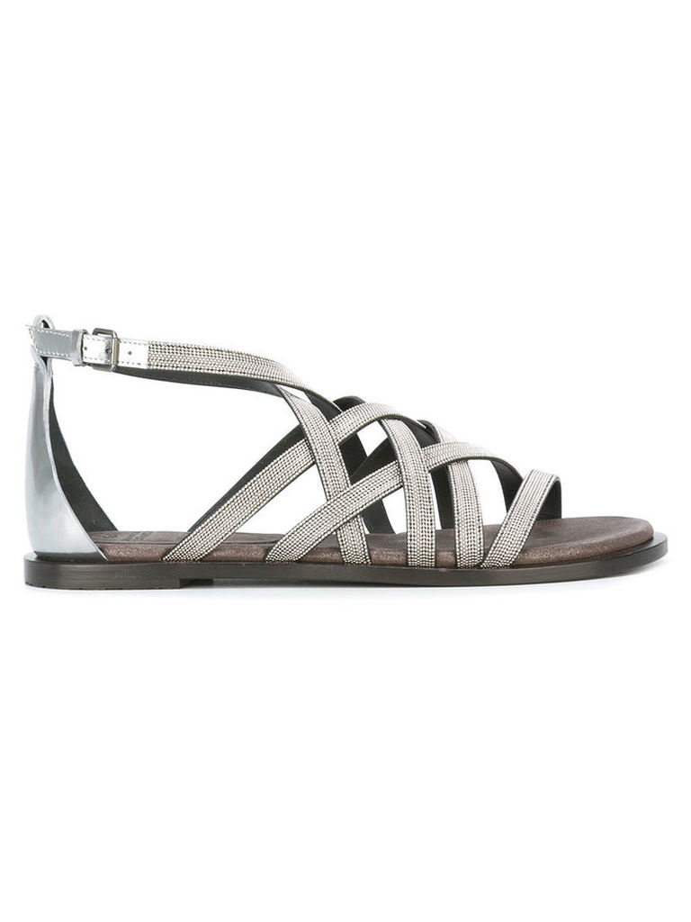 Brunello Cucinelli strappy sandals, Women's, Size: 37.5, Grey