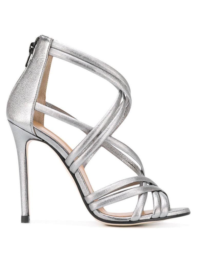 Marc Ellis metallic stiletto sandals, Women's, Size: 40, Grey