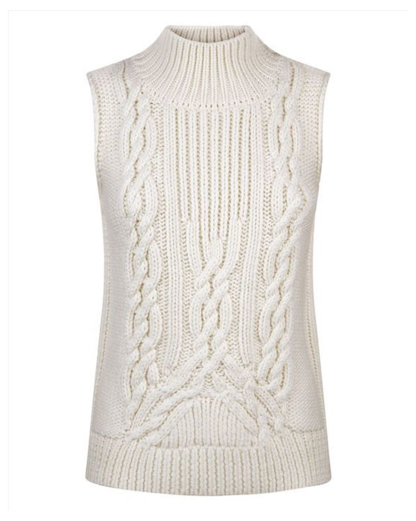 Wool Cable Knit Tank Top