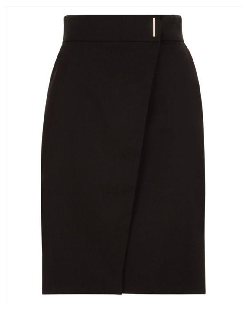 Wool Metal Bar Detail Skirt