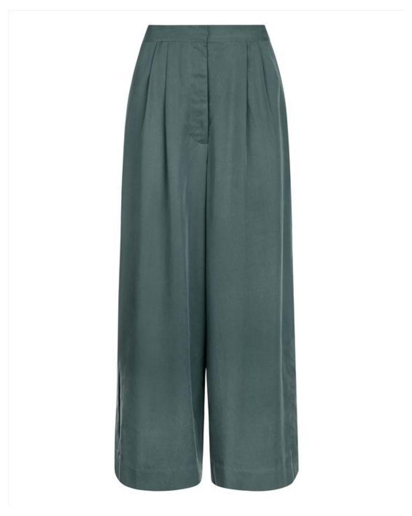 Split Hem Wide-Leg Trousers