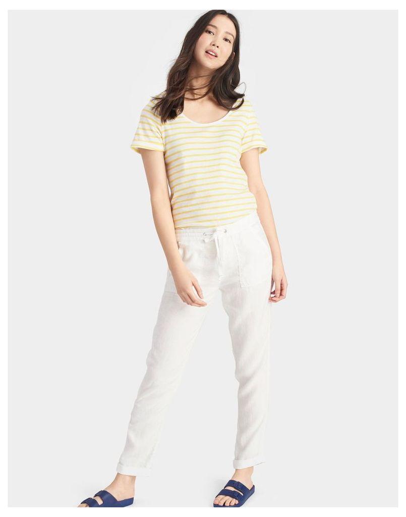 Bright White Monaco Linen Trousers  Size 14 | Joules UK
