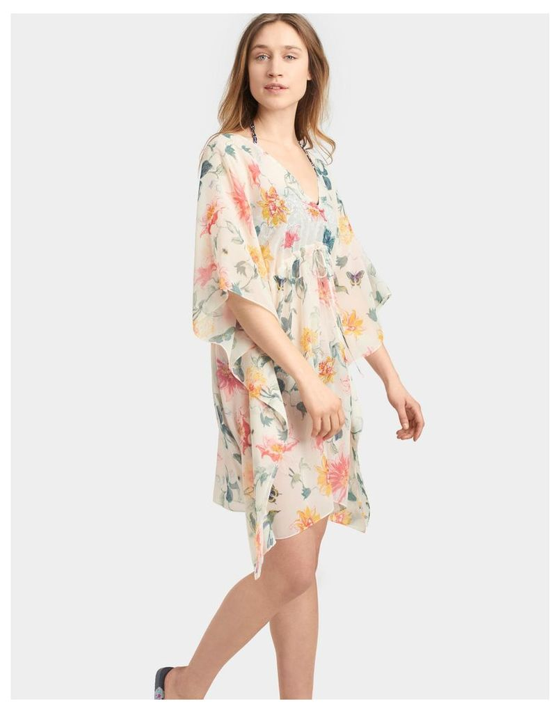 Cream Clematis Margaux Summer Poncho  Size One Size | Joules UK