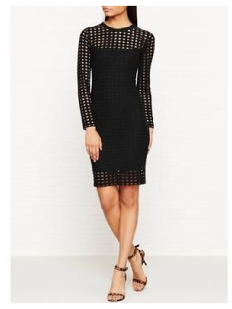 T By Alexander Wang Circular Hole Jacquard Long Sleeve Dress - Black