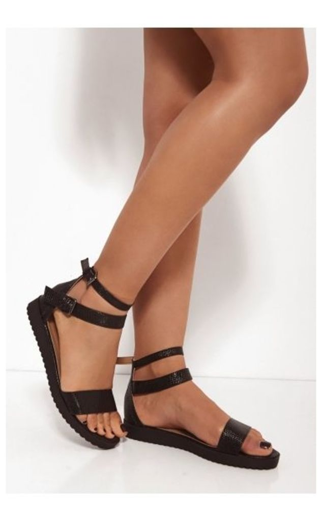 Mimi Black Snakeskin Sandals