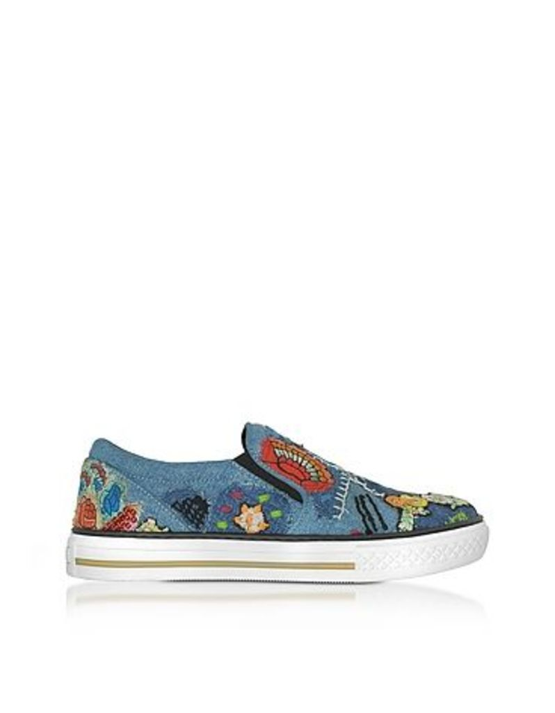 Roberto Cavalli - Denim Blue Embroidery Patch Flatform Sneakers