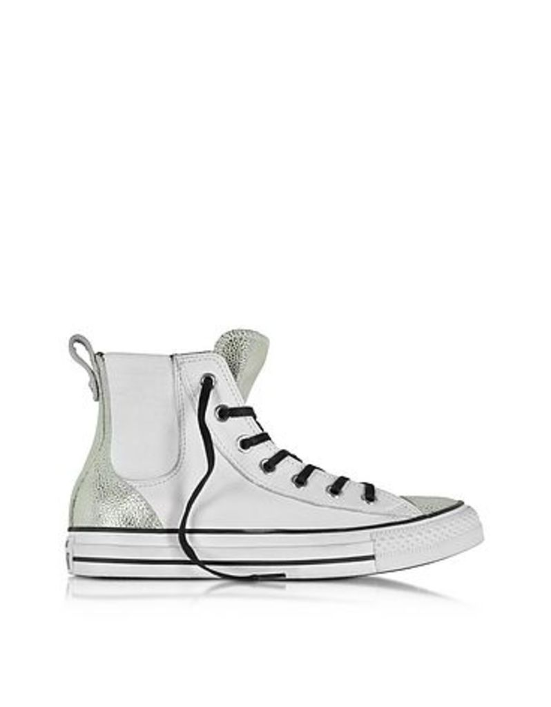 Converse Limited Edition - All Star High White & Silver Chelsee Leather Women's Sneaker