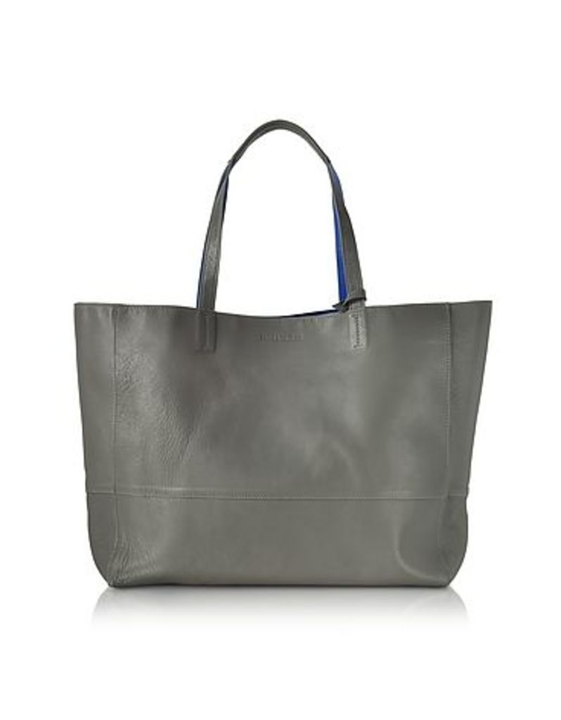 Zadig & Voltaire - Gray and Cobalt Blue Leather Reversible Hendrix Tote Bag