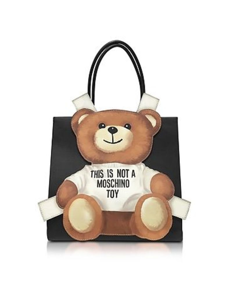 Moschino - Teddy Bear Saffiano Leather Tote Bag