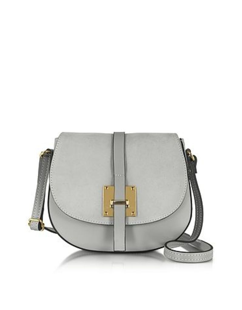 Le Parmentier - Pearl Gray Leather and Suede Crossbody Bag