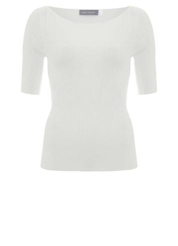 Ivory Ribbed Knitted Tee