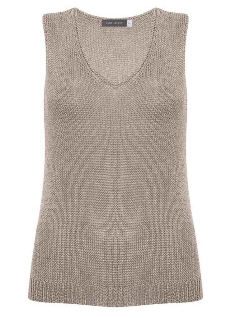 Blossom Metallic V-Neck Sleeveless Knit