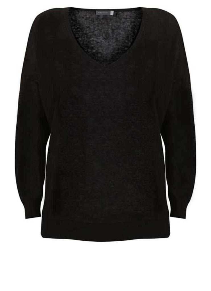 Black V-Neck Side Split Knit