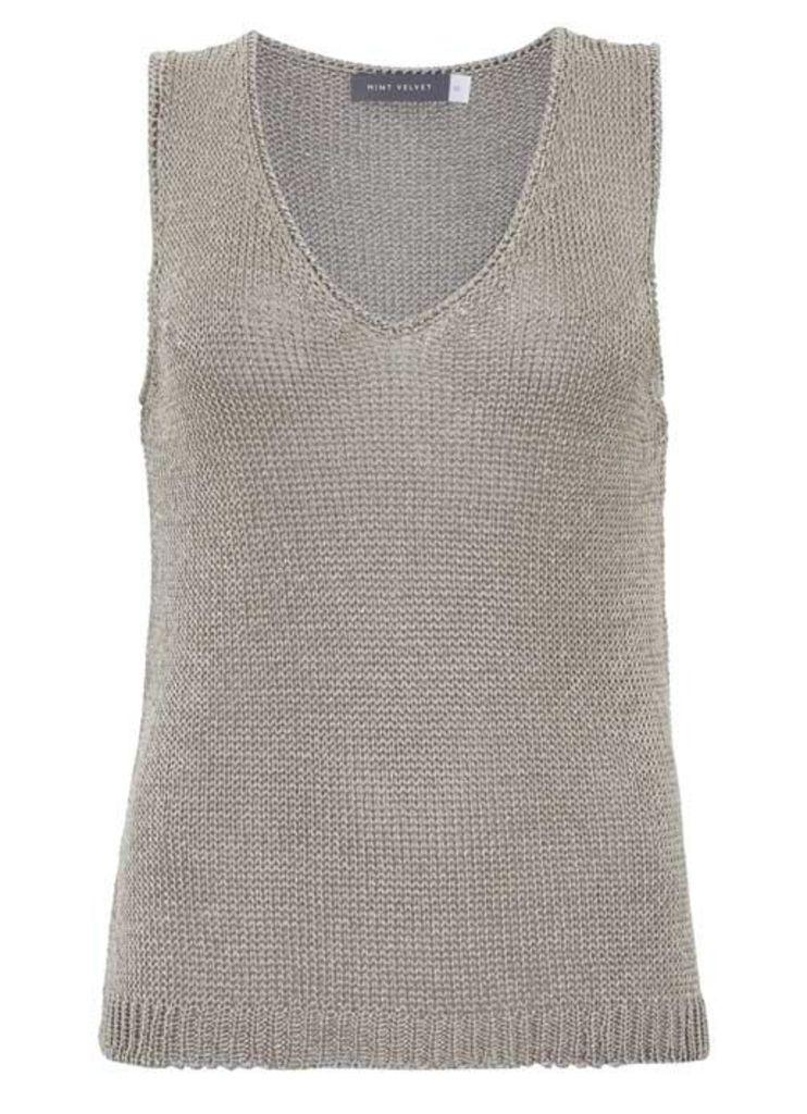Oyster Metallic Sleeveless Knit