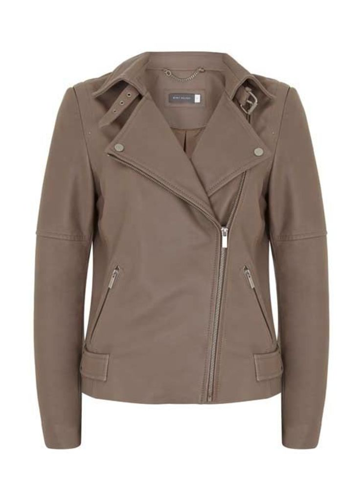 Mink Clean Leather Biker Jacket