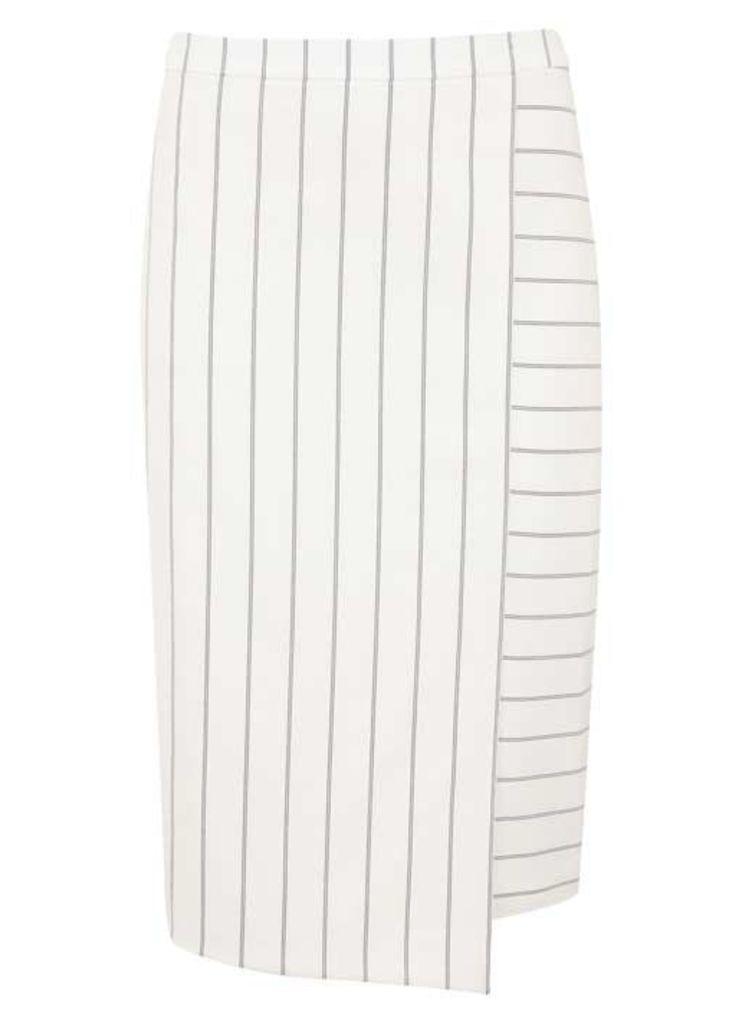 White Stripe Pencil Skirt