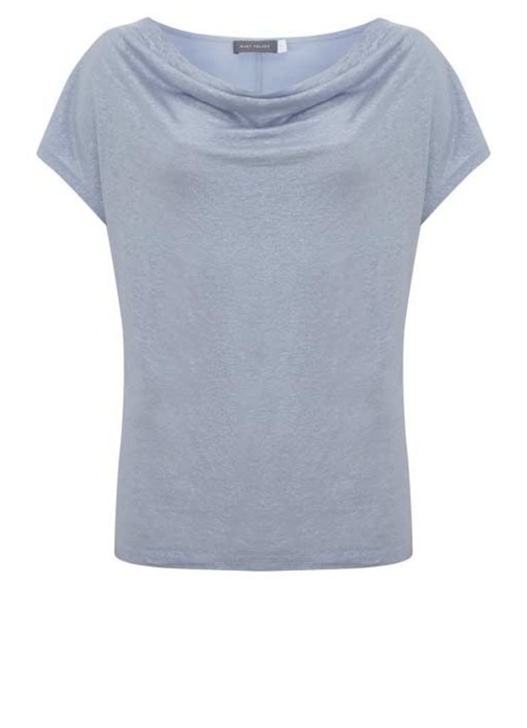 Cloud Shimmer Cowl Neck Tee