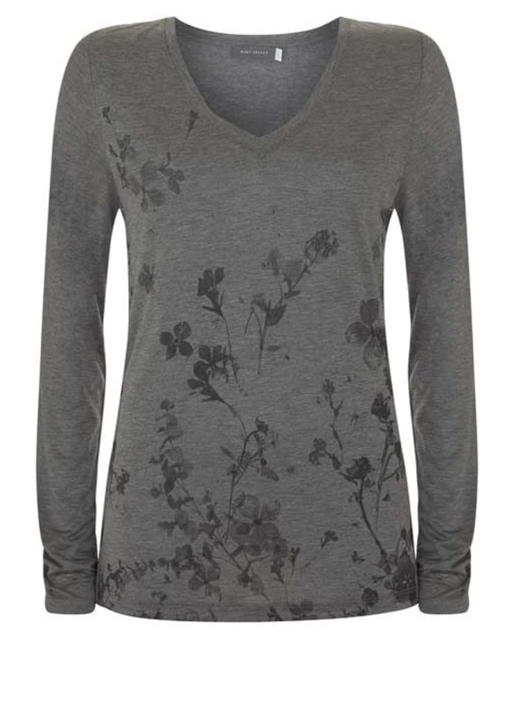 Silver Grey Scatter Floral Tee