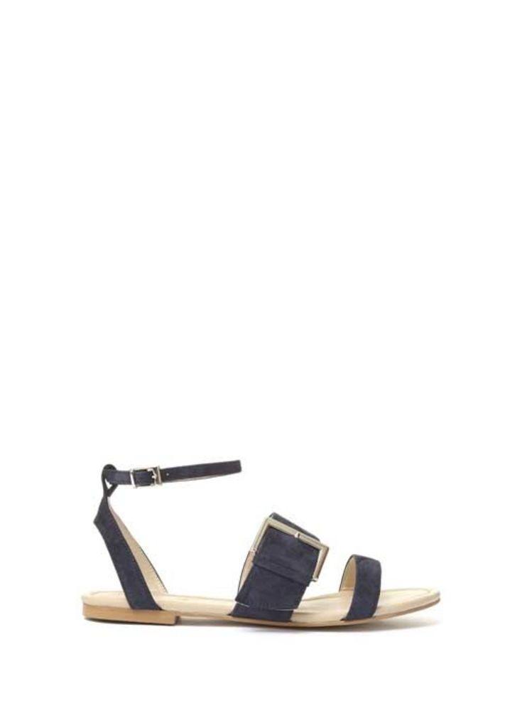 Navy Penny Oversized Buckle Sandal