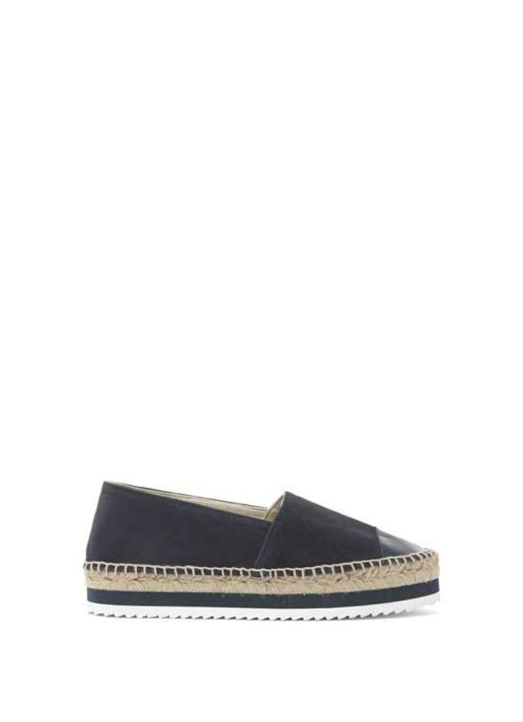 Navy Riley Leather Espadrille