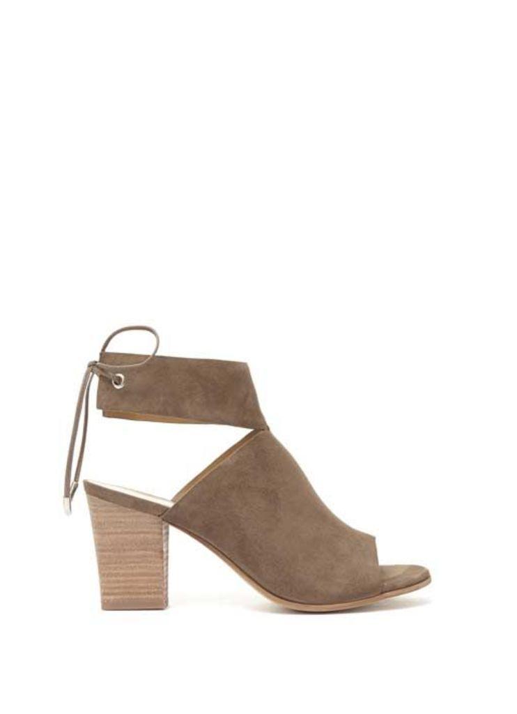 Tan Mia Chunky Ankle Strap Mule