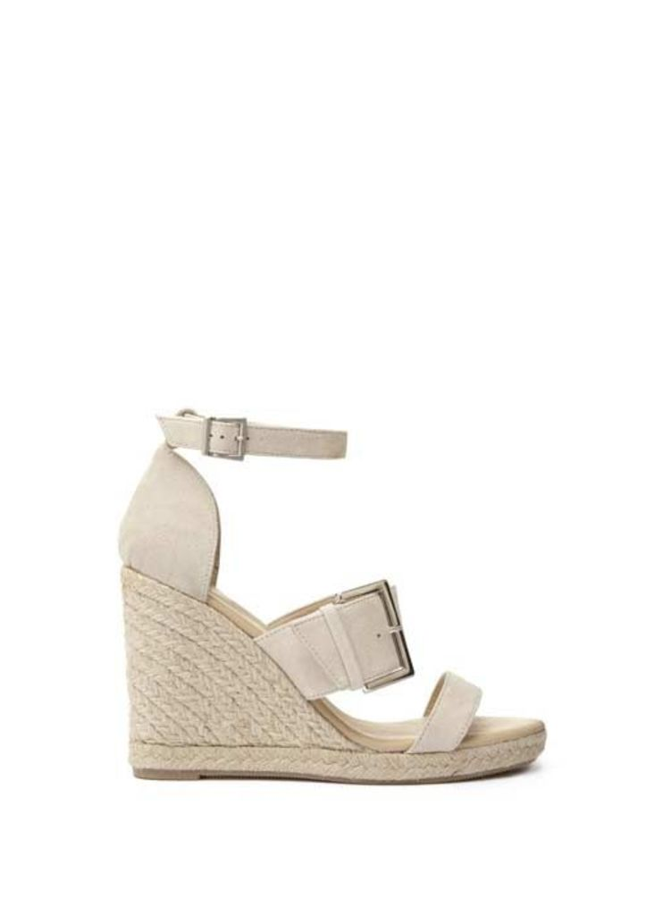 Neutral Olive Oversize Buckle Wedge