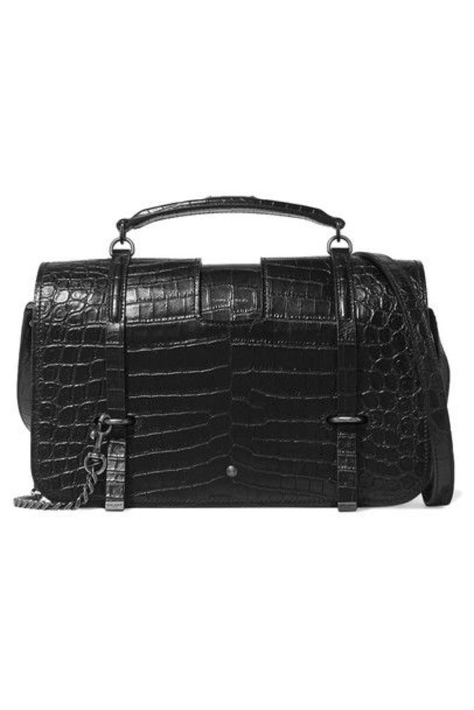 Saint Laurent - Charlotte Large Croc-effect Leather Shoulder Bag - Black